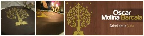 árbol de la vida pintado a mano para una tarta de chocolate Collage