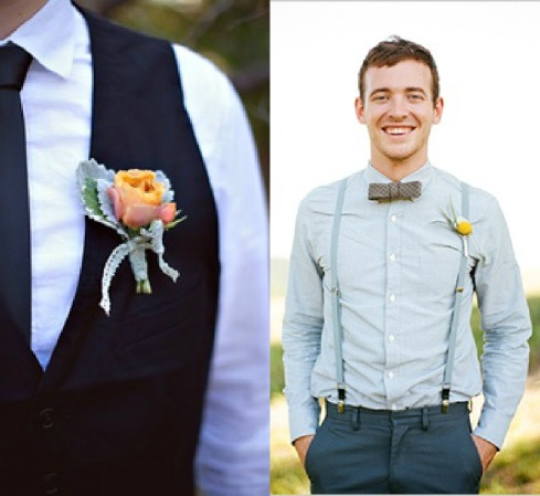 Ideas para trajes de novio chaleco, tirantes y pajarita Collage