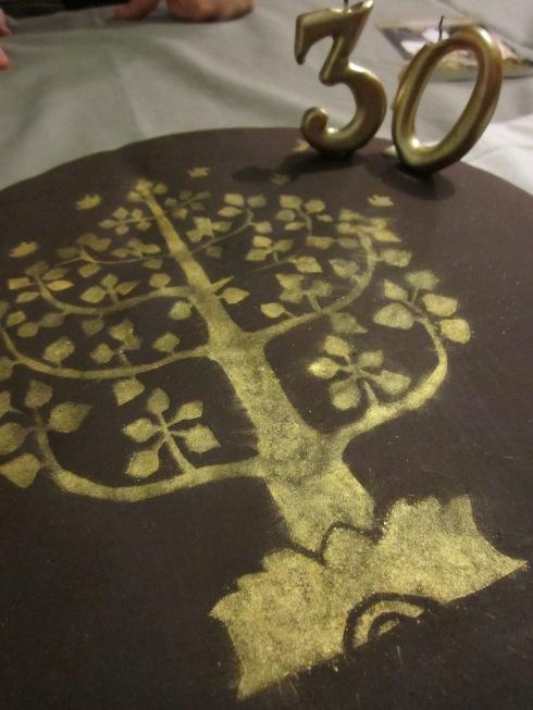 Tarta del árbol de la vida pintada a mano