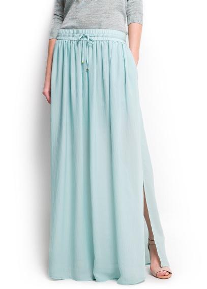 Falda  larga azul suave Mango