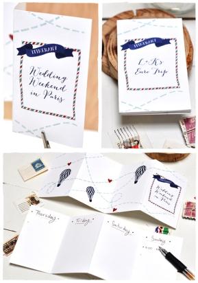 Imprimible para programa de ceremonia para bodas tematicas de viajes