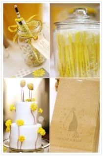 Detalles en amarillo para los invitados boda