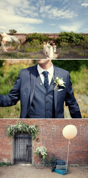 Stylish-Wedding-At-The-Walled-Garden-Cowdray-With-Bride-In-San-Patrick-Dress-And-Jimmy-Choo-Shoes-And-A-Malene-Birger-Sequinned-Jacket-And-Groom-In-Navy-Suit-From-Topman-1