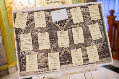 Seatting plan viajero boda de viajes de Lorena & Simón