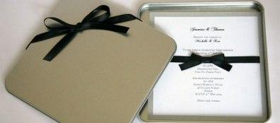 invitación en caja de metal