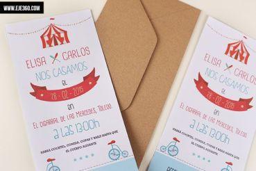 Invitaciones de boda temáticas circo