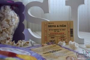 Invitaciones de temática cinematográfica, cine, boda