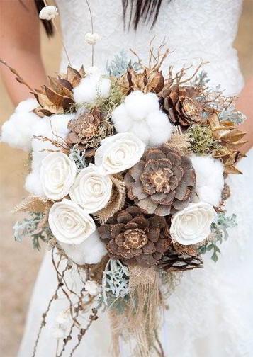 ramos-de-novia con algodon y piñas
