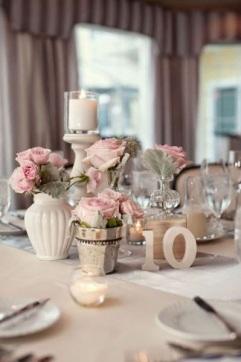 boda estilo shabby chic rosas centros de mesa
