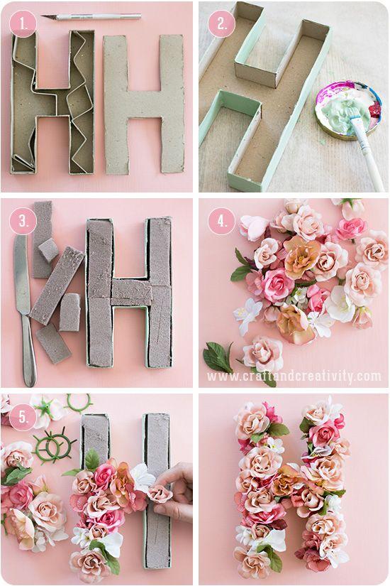 diy para bodas con letras y flores